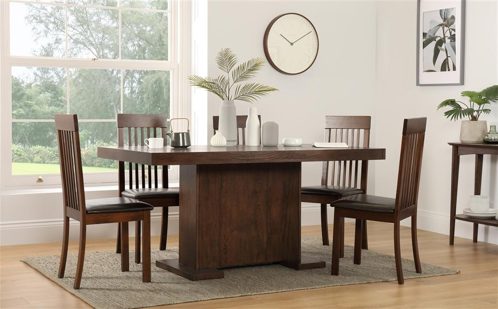 Chilton 160Cm & Oxford Walnut Dining Table And 4 6 Chairs Set (Brown Inside Widely Used Walnut Dining Tables And 6 Chairs (View 3 of 20)