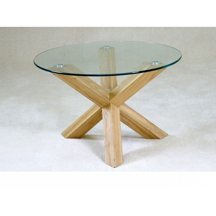 Chinon Round Glass Coffee Table – Azura Home Style Within 2018 Glass Dining Tables With Oak Legs (View 5 of 20)