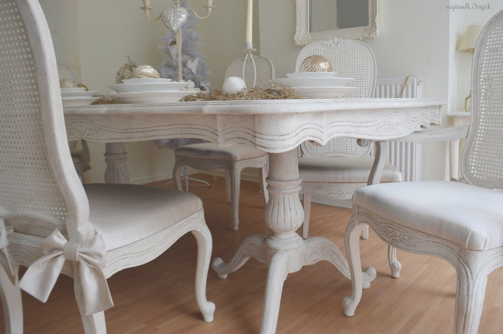 Christmas Sale !!! *** French Antique Shabby Chic Dining Table & Six Inside 2017 French Chic Dining Tables (View 3 of 20)