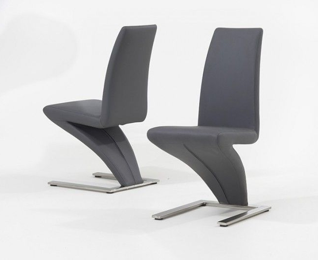 Chrome Dining Chairs Pertaining To Latest Pair Of Grey Hereford Pu Leather & Chrome Z Dining Chairs (View 4 of 20)