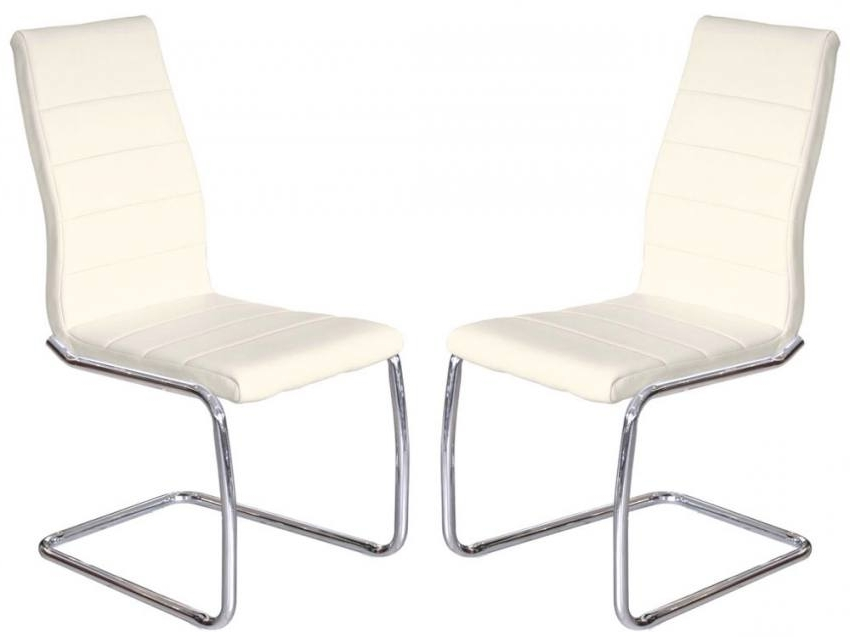 Chrome Dining Chairs Pertaining To Most Recently Released Febland – Svenska Steel Chrome Frame Dining Chairs – Cream Faux (View 5 of 20)