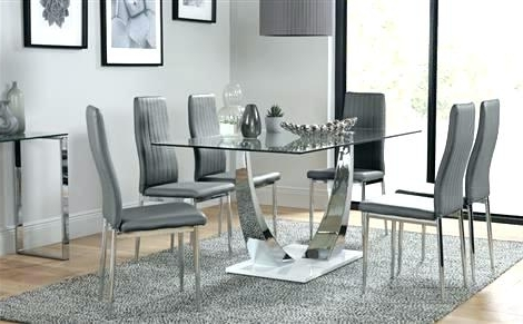 Chrome Dining Room Chairs Glass And Chrome Dining Table And Chairs With Regard To Newest Chrome Dining Room Sets (View 2 of 20)
