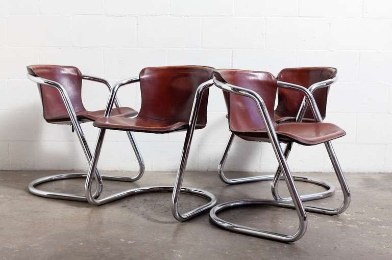Chrome Dining Room Chairs Pertaining To Most Recently Released Set Of 4 Leather And Chrome Dining Chairs At 1Stdibs (View 2 of 20)