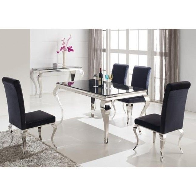Chrome Dining Room Chairs With Well Known Louis 160Cm Black And Chrome Dining Table Only (View 13 of 20)