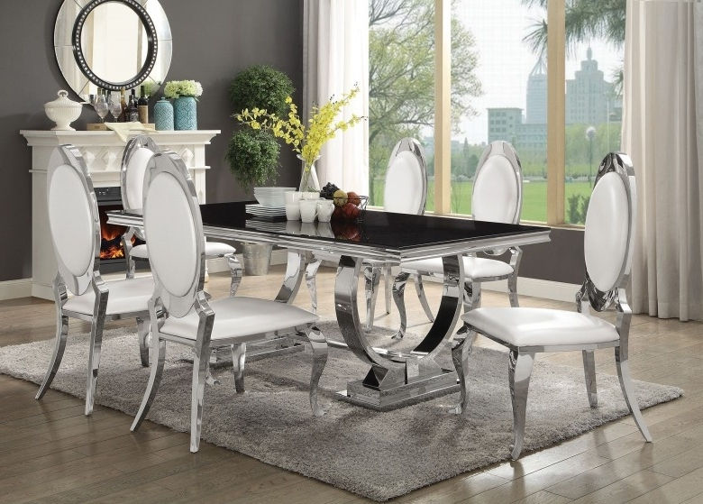 Chrome Dining Room Sets In 2018 Coaster Antoine Chrome Dining Table – Antoine Collection: 7 Reviews (View 7 of 20)