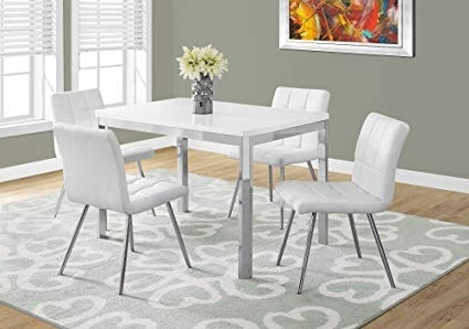 "Chrome Dining Room Sets With Regard To Trendy Amazon – Monarch Specialties I 1041 Dining Table 32""x 48"" Chrome (View 5 of 20)"