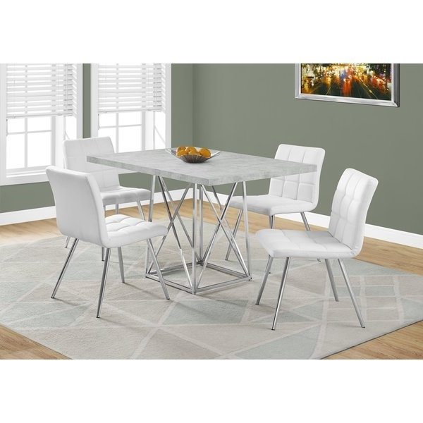 Chrome Dining Room Sets Within Favorite Shop Grey Cement And Chrome Dining Table – Free Shipping Today (View 7 of 20)