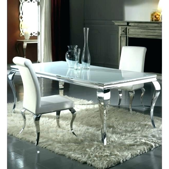Chrome Dining Table And Chairs Oval Clear Glass Chrome Dining Table In 2018 Chrome Dining Sets (View 15 of 20)