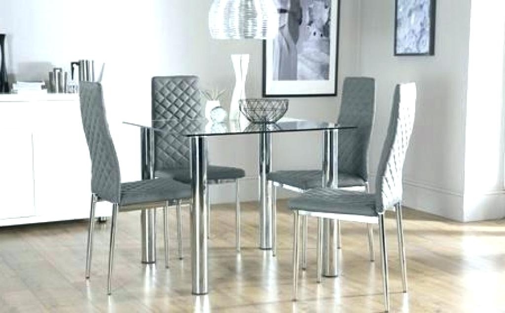 Chrome Dining Table And Chairs Oval Clear Glass Chrome Dining Table Intended For Widely Used Retro Glass Dining Tables And Chairs (View 1 of 20)