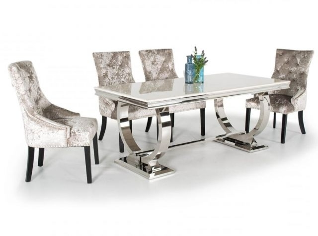 Chrome Dining Tables And Chairs For Famous Vida Living Arianna Marble And Chrome Dining Table With Eden Suede (View 3 of 20)