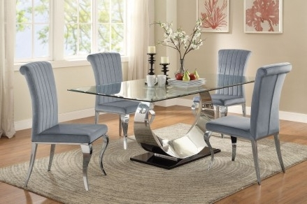 Chrome Dining Tables And Chairs Intended For 2018 Coaster Manessier Chrome Dining Room Set – Manessier Collection:  (View 6 of 20)