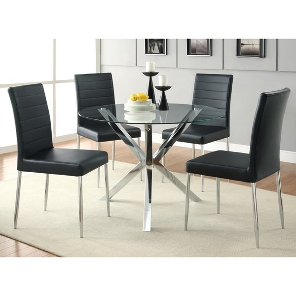 Chrome Dining Tables And Chairs Throughout Most Recent Shop Coaster Company Chrome Glass Top Dining Table – Free Shipping (View 8 of 20)