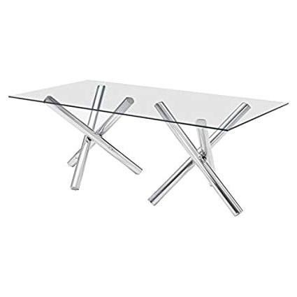Chrome Glass Dining Tables For Well Liked Amazon – Brika Home Glass Dining Table In Chrome – Tables (View 1 of 20)