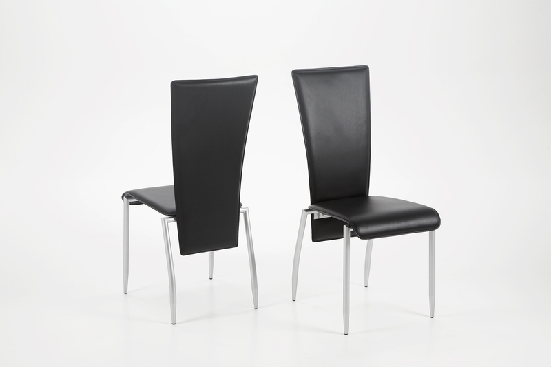 Chrome Leather Dining Chairs In Well Liked Set Of 2 Milan Dining Chair Black Leather – Quality Dining Chairs (View 6 of 20)