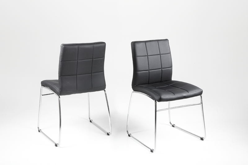 Chrome Leather Dining Chairs Intended For Well Known Hot Dining Chair – Black Leather Look With Chrome Legs – Homestreet (View 2 of 20)