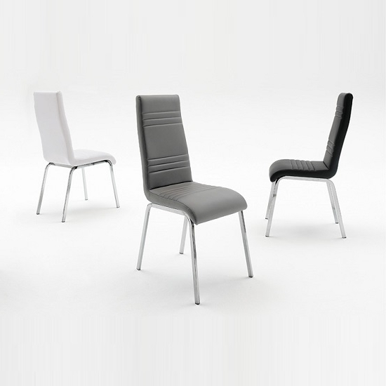 Chrome Leather Dining Chairs Pertaining To Favorite Dora Dining Chair In White Faux Leather With Chrome Base (View 7 of 20)