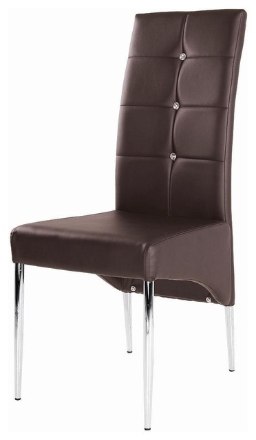 Chrome Leather Dining Chairs Throughout 2017 Modern Leather Dining Chair With Chrome Legs, Brown – Modern (View 5 of 20)