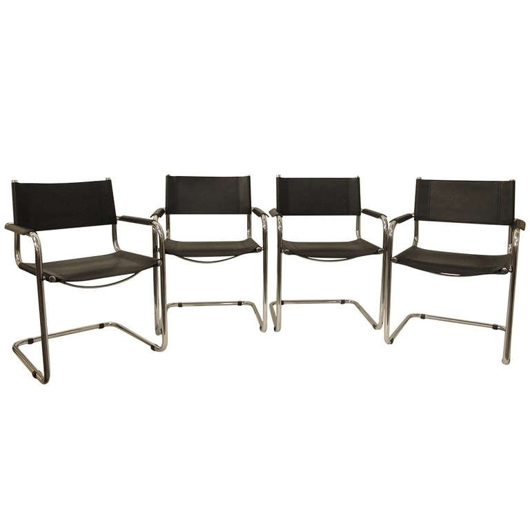 Chrome Leather Dining Chairs With Regard To 2017 Four Leather And Chrome Dining Chairsmart Stam At 1Stdibs Black (View 18 of 20)