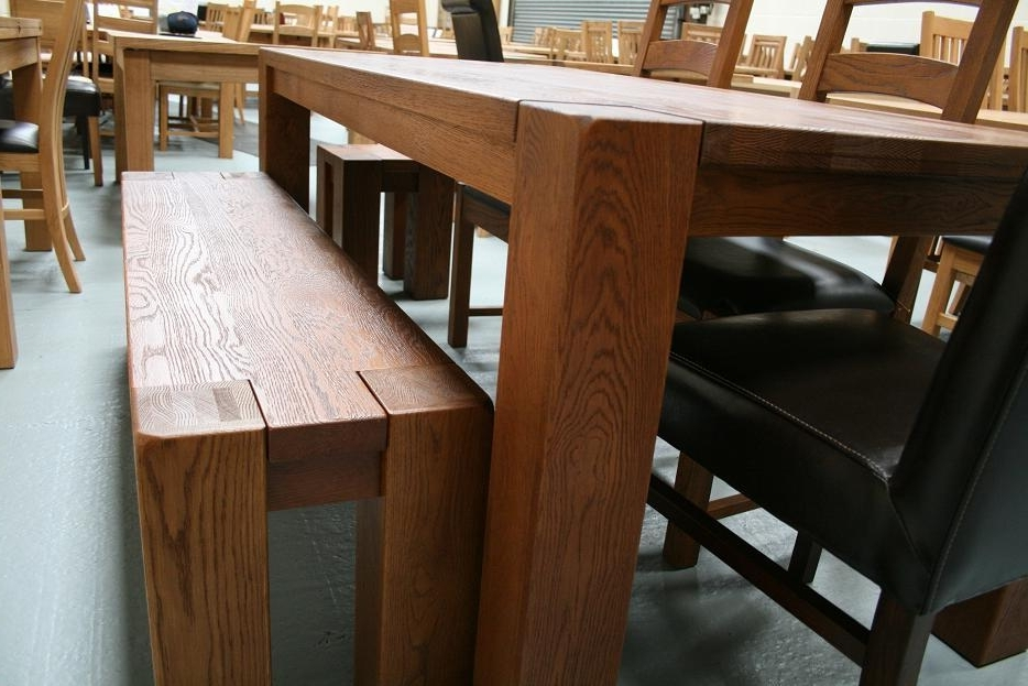 Chunky Benches & Tables Inside Recent Chunky Solid Oak Dining Tables And 6 Chairs (View 20 of 20)
