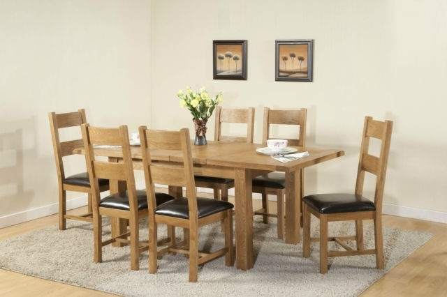 Chunky Solid Oak Dining Tables And 6 Chairs In Most Up To Date Burnham Solid Chunky Wood Rustic Oak Large Extending Dining Table (View 15 of 20)