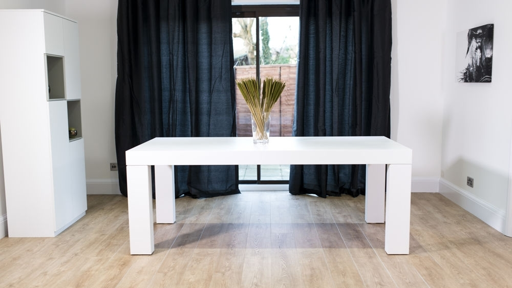 Chunky Table & Padded Chairs Throughout Well Liked White 8 Seater Dining Tables (View 7 of 20)