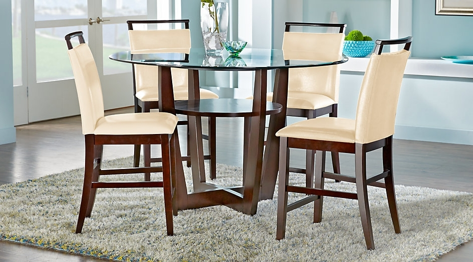 Ciara Espresso 5 Pc Counter Height Dining Set Room Sets For Design 9 Regarding Widely Used Caira Extension Pedestal Dining Tables (View 12 of 20)