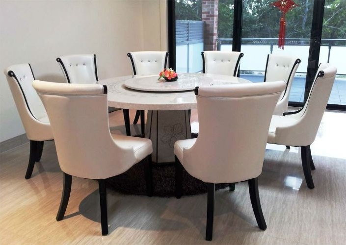 Circular Dining Tables Inside Most Up To Date Top 5 Gorgeous White Marble Round Dining Tables (View 3 of 20)