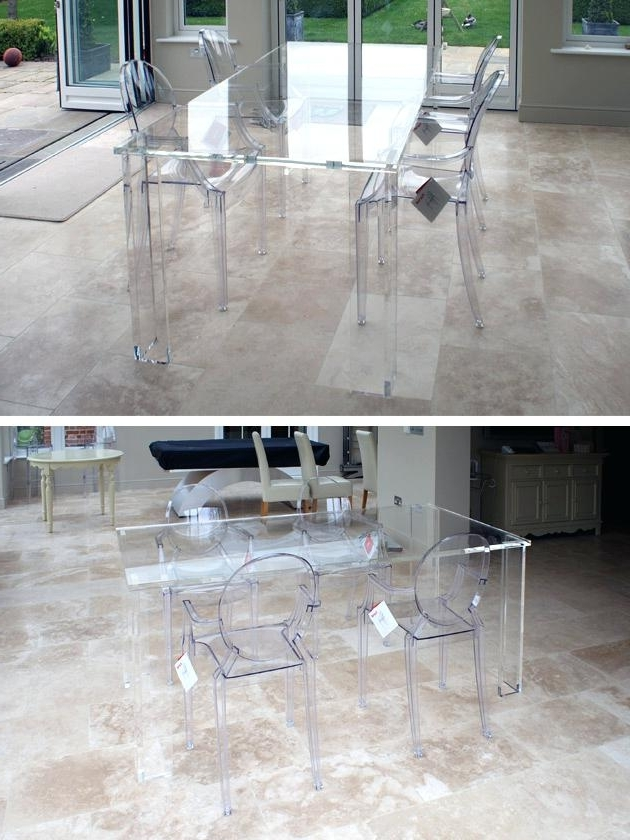 Clear Acrylic Dining Table Dinette Tables Round Kitchen Table Sets Within Current Round Acrylic Dining Tables (View 10 of 20)