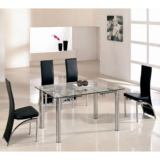 Clear Glass Dining Tables And Chairs In Recent Alicia Extending Dining Table In Clear Glass With Chrome (View 17 of 20)