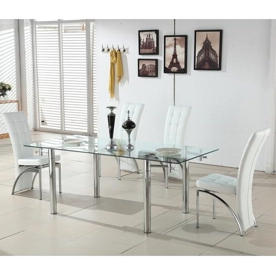 Clear Glass Dining Tables And Chairs Pertaining To Recent Alicia Extending Glass Dining Table With 6 Ravenna White (View 5 of 20)