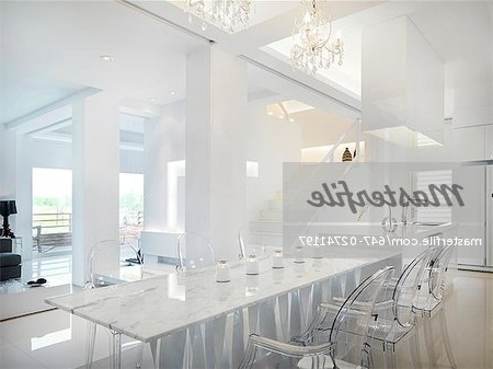 Clear Plastic Dining Tables Inside Well Liked Marble Dining Table With Clear Plastic Chairs – Stock Photo (View 7 of 20)
