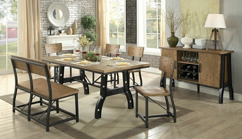 Cm3573T 6Pc 6 Pc Kirstin Industrial Style Metal Trestle Base With Within Latest Kirsten 6 Piece Dining Sets (View 3 of 20)
