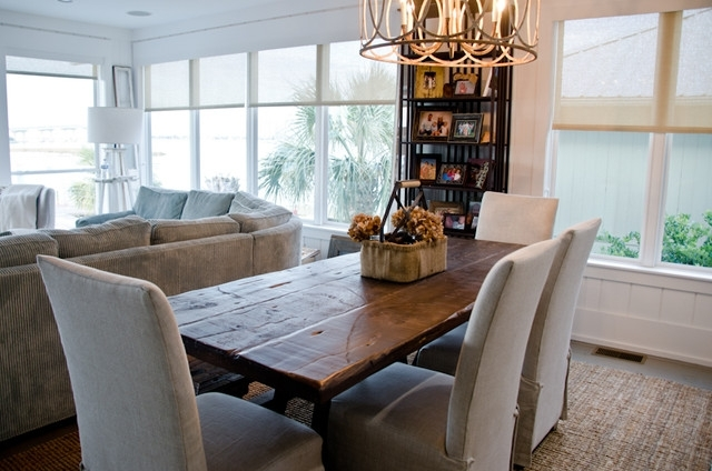 Coastal Dining Tables Throughout Popular Reclaimed Dining Table/ Oba Project – Beach Style – Dining Room (View 12 of 20)