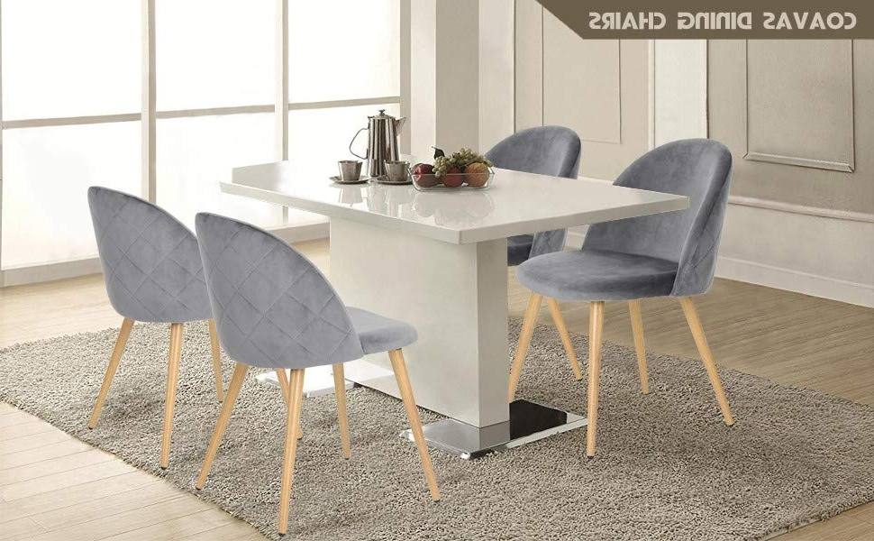 Coavas Dining Chairs Soft Velvet Kitchen Chairs Living Room Lounge Pertaining To 2017 Grey Dining Chairs (View 3 of 20)