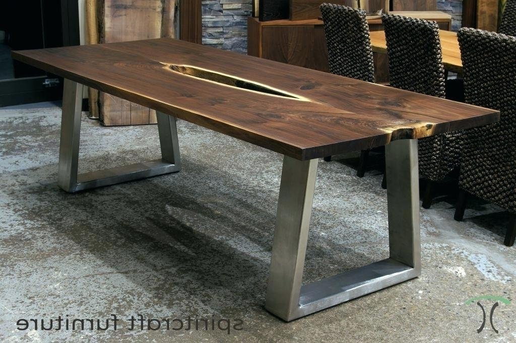Coffee Table Wood Top Round White With Elegant Metal Frame Throughout Recent Dining Tables With Metal Legs Wood Top (View 5 of 20)