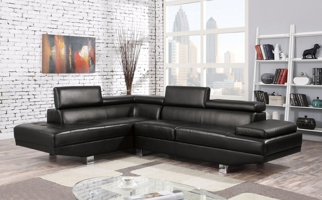 Collin Modern Adjustable Sectional Sofa W/ Chaise In Black Bonded Throughout 2017 Collins Sofa Sectionals With Reversible Chaise (View 2 of 15)