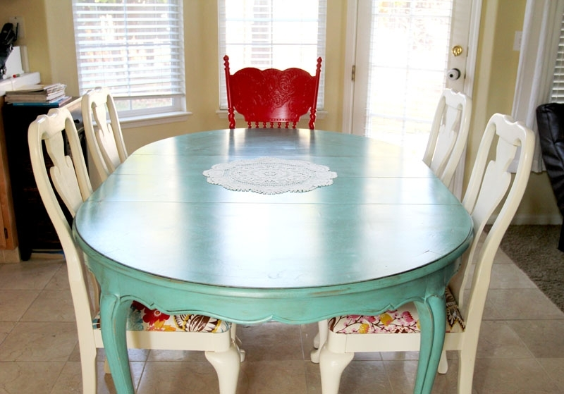 Colorful Painted Dining Table Inspiration Intended For 2018 Green Dining Tables (View 6 of 20)