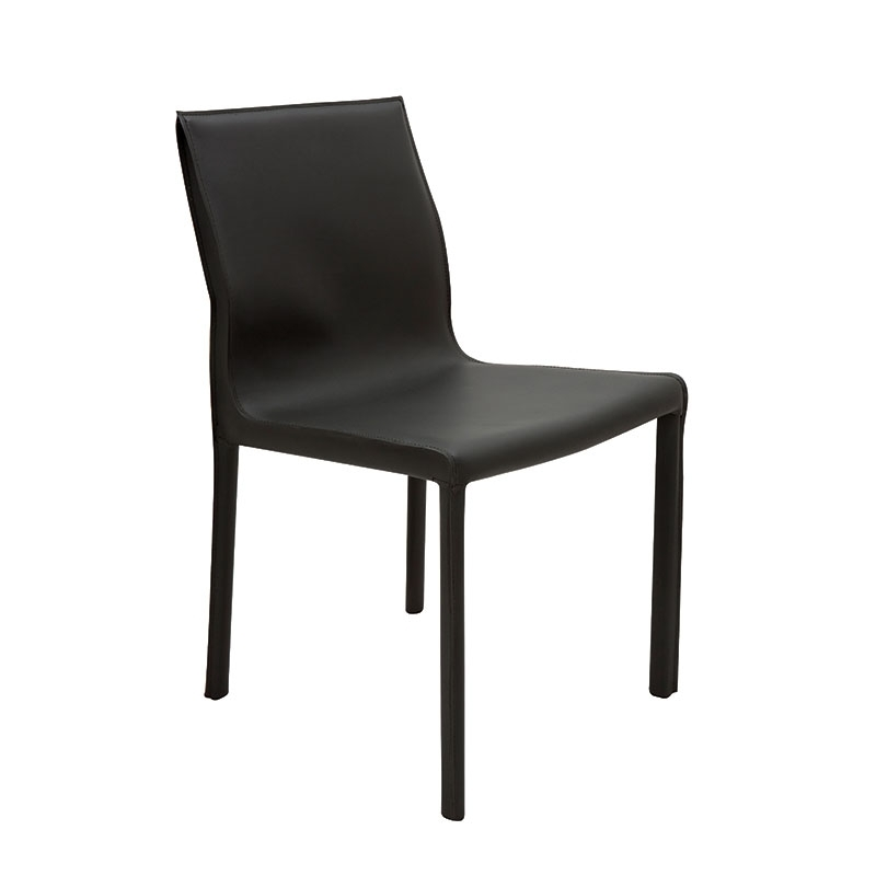 Colter Modern Leather Dining Chair Black Pertaining To Trendy Black Dining Chairs (View 4 of 20)