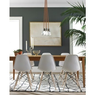 Combs 7 Piece Dining Sets With  Mindy Slipcovered Chairs Throughout Best And Newest Brayden Studio Hickory 7 Light Cluster Pendant In  (View 6 of 20)