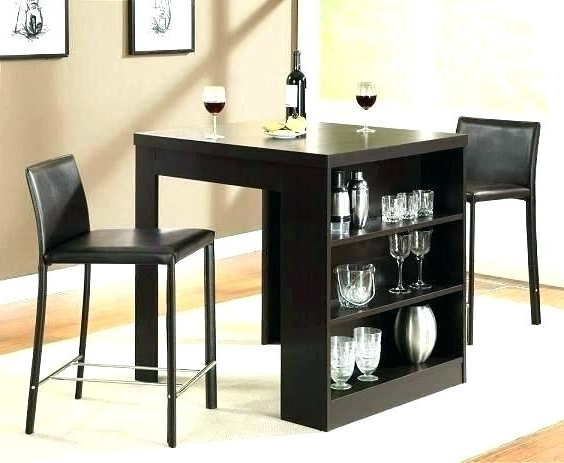 Compact Dining Table Set Tables For Small Spaces With Storage Shelf Throughout Well Known Compact Dining Tables (View 1 of 20)
