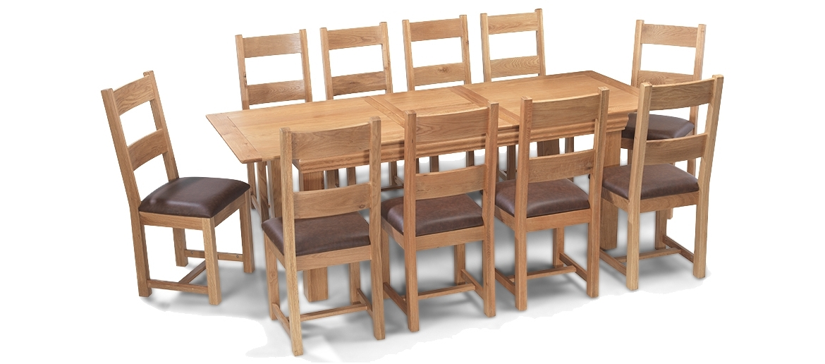 Constance Oak 180 230 Cm Extending Dining Table And 10 Chairs Within Popular Extending Dining Table With 10 Seats (View 4 of 20)