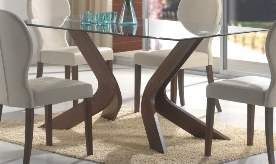 Contemporary Base Dining Tables Inside Well Known Glass Top Dining Tables With Wood Base Glass Dining Table With Wood (View 4 of 20)