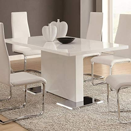 Contemporary Dining Room Tables And Chairs Within Best And Newest Amazon – Glossy White Contemporary Dining Table – Tables (View 7 of 20)