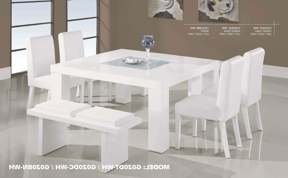 Contemporary White Wood Middle Frosted Glass Dining Table Set In Well Known Glass Dining Tables White Chairs (View 18 of 20)