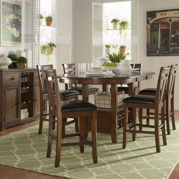 Cora 5 Piece Dining Sets Throughout Most Popular Shop Tuscany Brown Wood Wine Rack Counter Height Extending Dining (View 6 of 20)