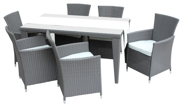 Cora 7 Piece Dining Sets Inside Most Recently Released Amari 7 Piece Patio Dining Set – Tropical – Outdoor Dining Sets – (View 6 of 20)
