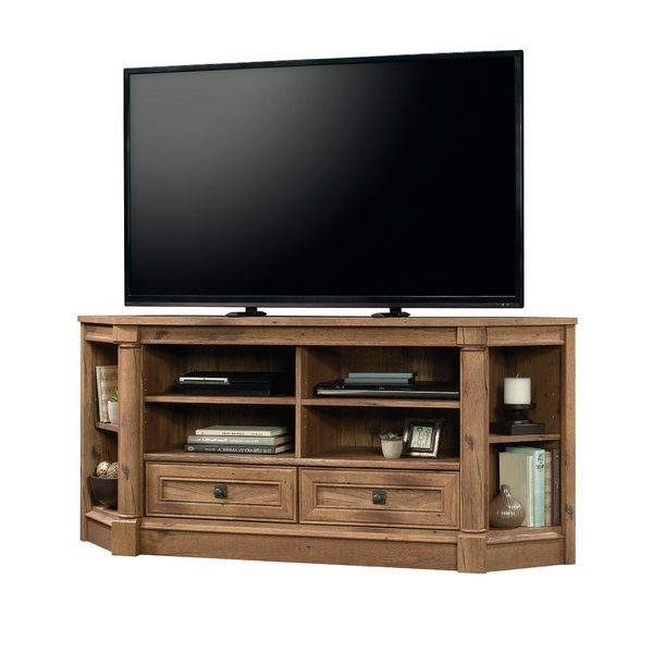 Corner Tv Stands You'll Love Within Trendy Ina Matte Black 60 Inch Counter Tables With Frosted Glass (View 8 of 20)
