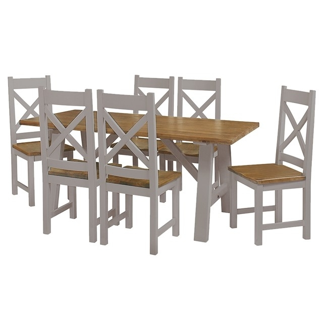 Cotswold Painted Grey Trestle Table – Brand Interiors With Recent Cotswold Dining Tables (View 9 of 20)