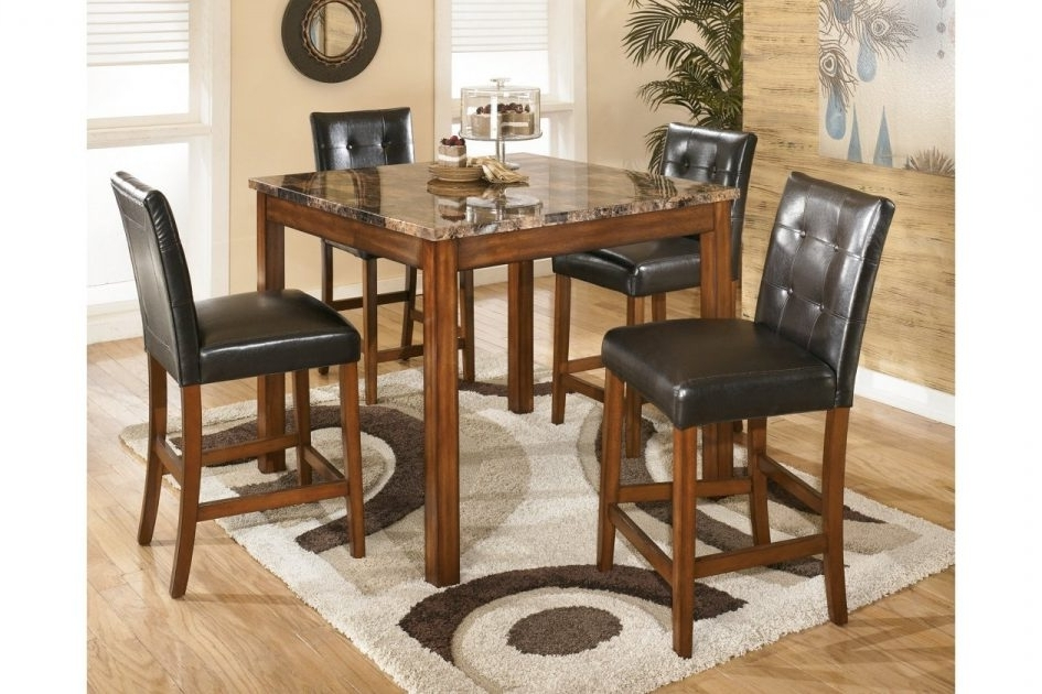 Counter Height Dining Room Table And Bar Stools Ashley Furniture 5Pc Intended For Newest Hyland 5 Piece Counter Sets With Stools (View 15 of 20)