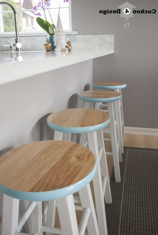 Counter Stool Makeover~Love The Pop Of Color On The Rim Of These In Well Known Laurent 7 Piece Counter Sets With Wood Counterstools (View 3 of 20)